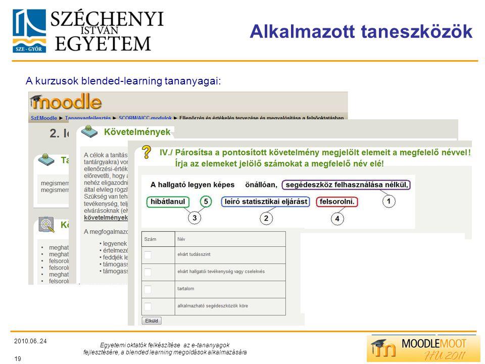 TÁMOP412/C Alkalmazott taneszközök 2010.06..24 Egyetemi oktatók felkészítése az e-tananyagok fejlesztésére, a blended learning megoldások alkalmazására 19 A kurzusok blended-learning tananyagai: