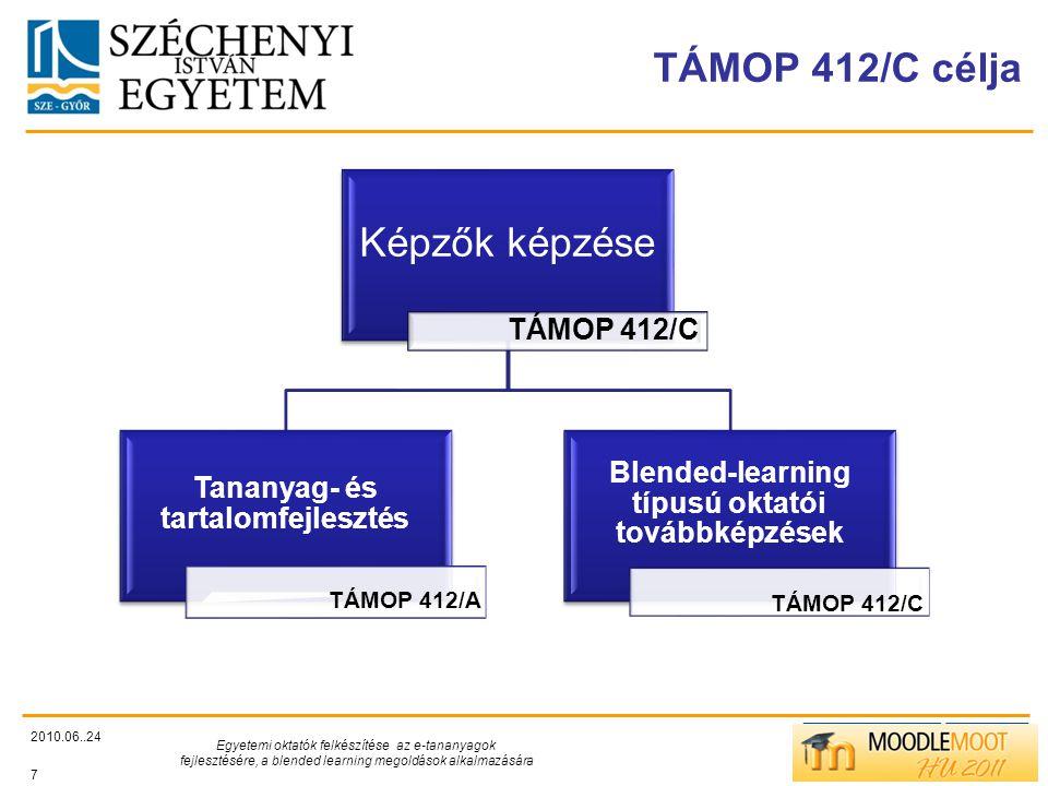 TÁMOP412/C TÁMOP 412/C célja 2010.06..24 Egyetemi oktatók felkészítése az e-tananyagok fejlesztésére, a blended learning megoldások alkalmazására 7 Képzők képzése TÁMOP 412/C Tananyag- és tartalomfejlesztés TÁMOP 412/A Blended-learning típusú oktatói továbbképzések TÁMOP 412/C