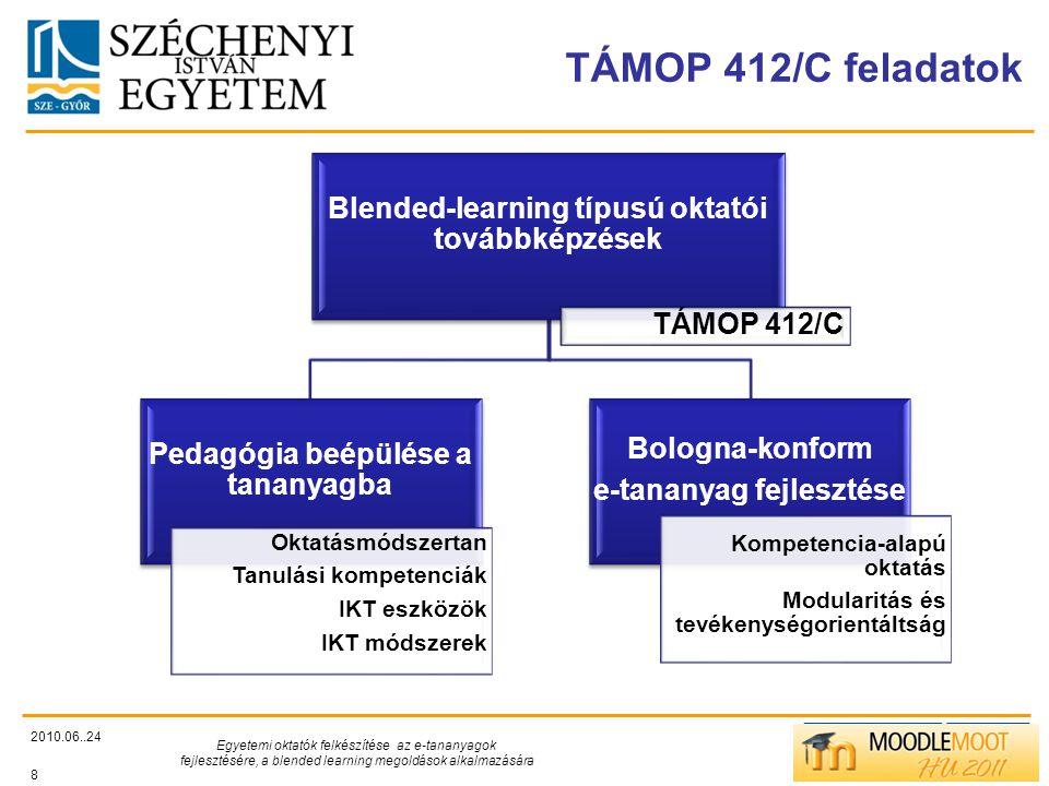 TÁMOP 412/C feladatok 2010.06..24 Egyetemi oktatók felkészítése az e-tananyagok fejlesztésére, a blended learning megoldások alkalmazására 8 Blended-learning típusú oktatói továbbképzések TÁMOP 412/C Pedagógia beépülése a tananyagba Oktatásmódszertan Tanulási kompetenciák IKT eszközök IKT módszerek Bologna-konform e-tananyag fejlesztése Kompetencia-alapú oktatás Modularitás és tevékenységorientáltság