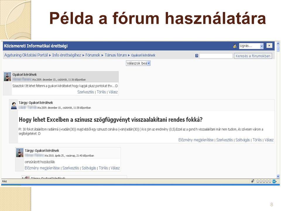 Példa a fórum használatára 8