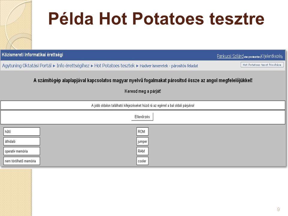 Példa Hot Potatoes rejtvényre 10