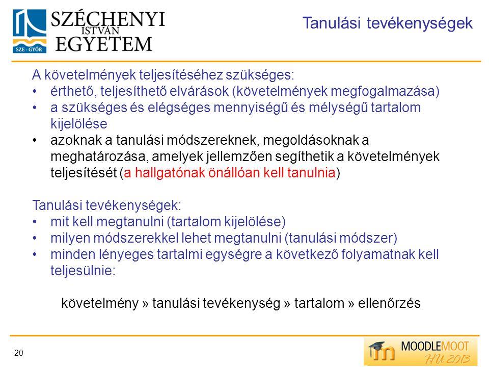 20 Tanulási tevékenységek A követelmények teljesítéséhez szükséges: érthető, teljesíthető elvárások (követelmények megfogalmazása) a szükséges és elég