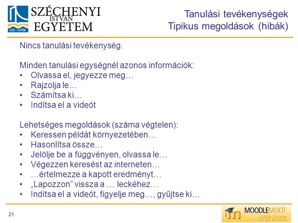 21 Tanulási tevékenységek Tipikus megoldások (hibák) Nincs tanulási tevékenység. Minden tanulási egységnél azonos információk: Olvassa el, jegyezze me