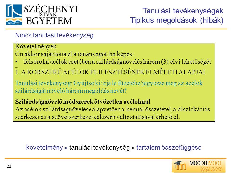 22 Tanulási tevékenységek Tipikus megoldások (hibák) Nincs tanulási tevékenység … Követelmények Ön akkor sajátította el a tananyagot, ha képes: felsor
