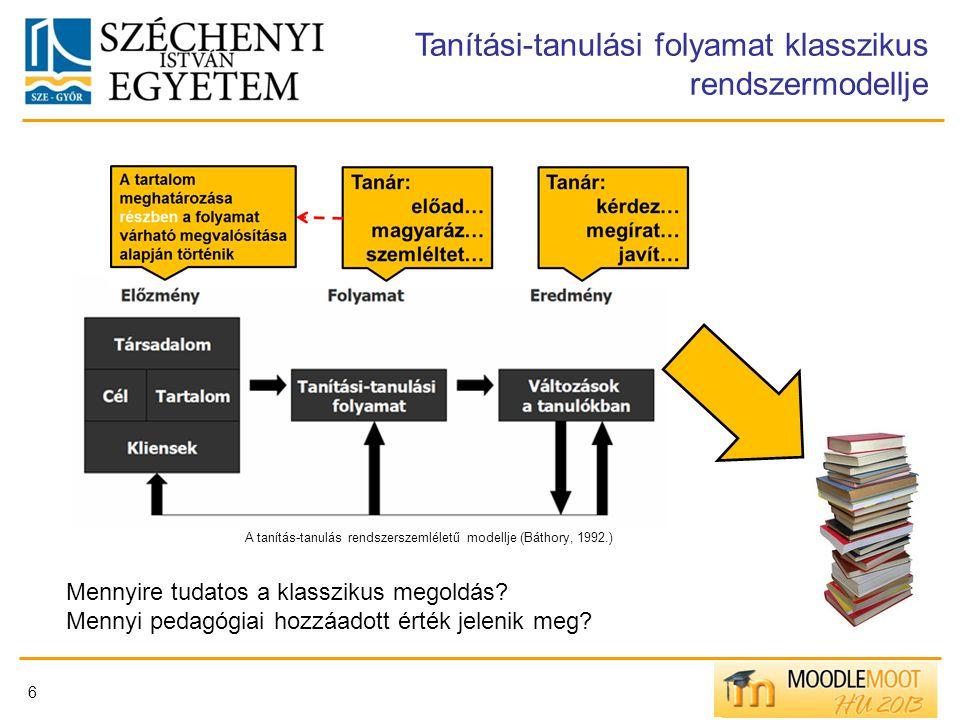 6 Tanítási-tanulási folyamat klasszikus rendszermodellje A tanítás-tanulás rendszerszemléletű modellje (Báthory, 1992.) Mennyire tudatos a klasszikus