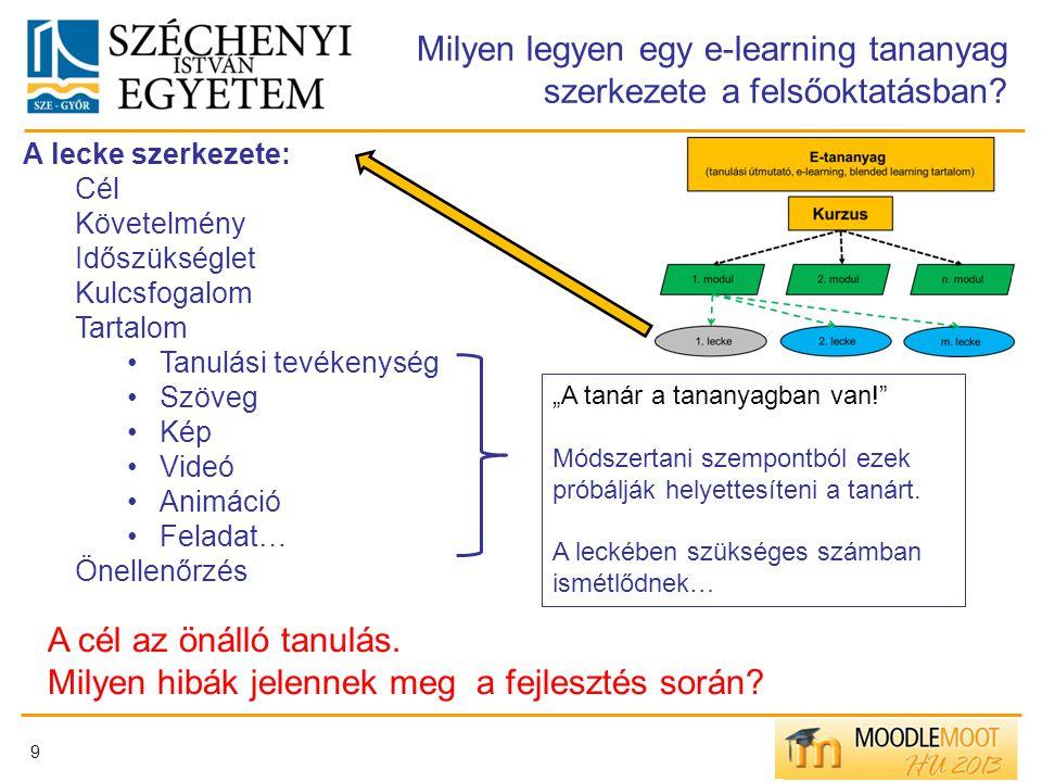 9 Milyen legyen egy e-learning tananyag szerkezete a felsőoktatásban? A lecke szerkezete: Cél Követelmény Időszükséglet Kulcsfogalom Tartalom Tanulási