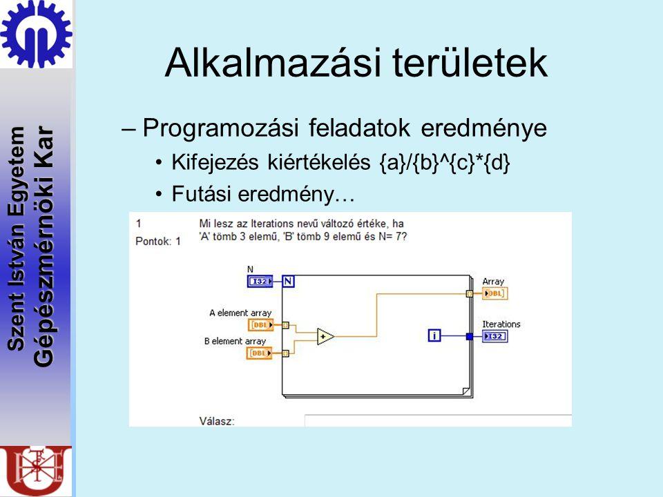 Szent István Egyetem Gépészmérnöki Kar Alkalmazási területek –Programozási feladatok eredménye Kifejezés kiértékelés {a}/{b}^{c}*{d} Futási eredmény…
