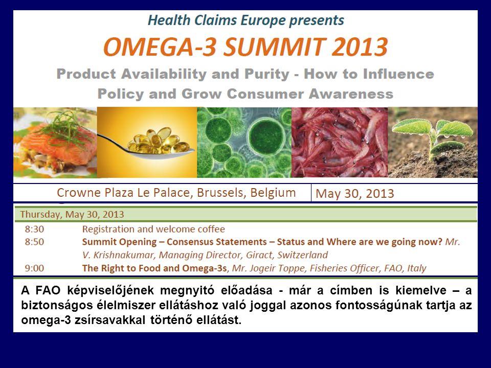 A FAO képviselőjének megnyitó előadása - már a címben is kiemelve – a biztonságos élelmiszer ellátáshoz való joggal azonos fontosságúnak tartja az omega-3 zsírsavakkal történő ellátást.