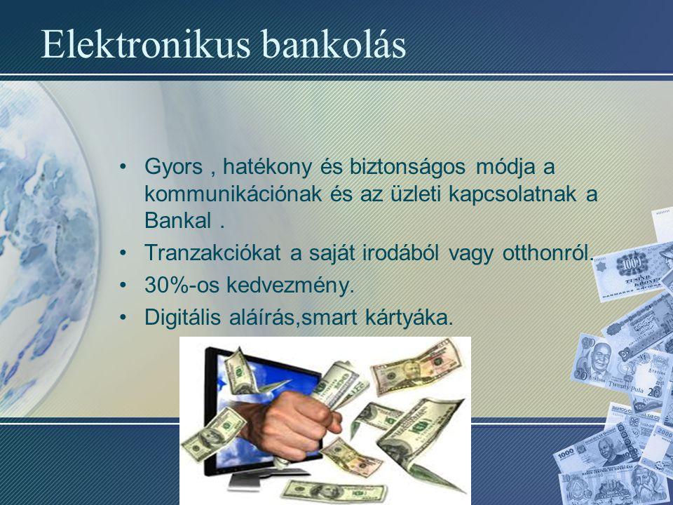 Elektronikus bankolás Gyors, hatékony és biztonságos módja a kommunikációnak és az üzleti kapcsolatnak a Bankal. Tranzakciókat a saját irodából vagy o