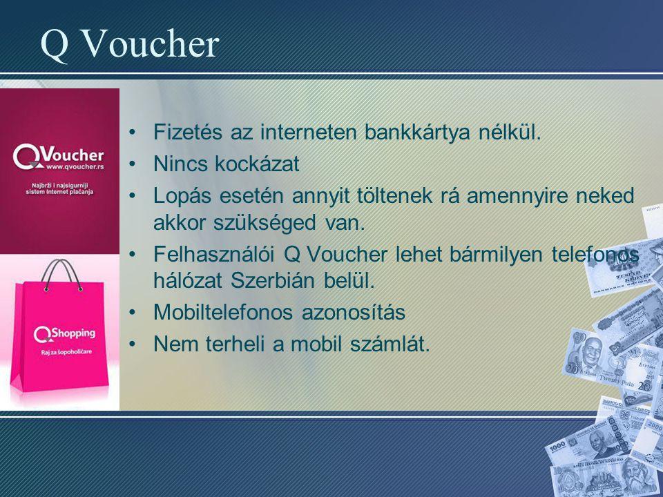 Q Voucher Fizetés az interneten bankkártya nélkül. Nincs kockázat Lopás esetén annyit töltenek rá amennyire neked akkor szükséged van. Felhasználói Q