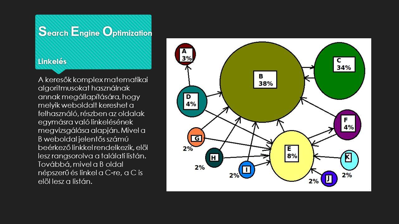 S earch E ngine O ptimization Linkelés A keresők komplex matematikai algoritmusokat használnak annak megállapítására, hogy melyik weboldalt kereshet a