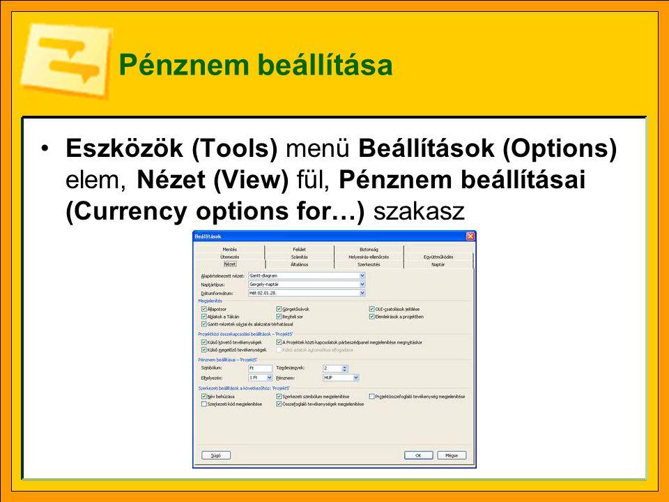 Pénznem beállítása Eszközök (Tools) menü Beállítások (Options) elem, Nézet (View) fül, Pénznem beállításai (Currency options for…) szakasz