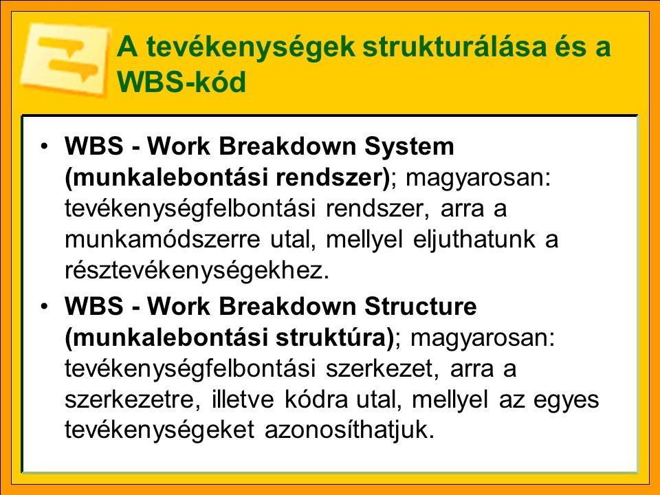A tevékenységek strukturálása és a WBS-kód WBS - Work Breakdown System (munkalebontási rendszer); magyarosan: tevékenységfelbontási rendszer, arra a m