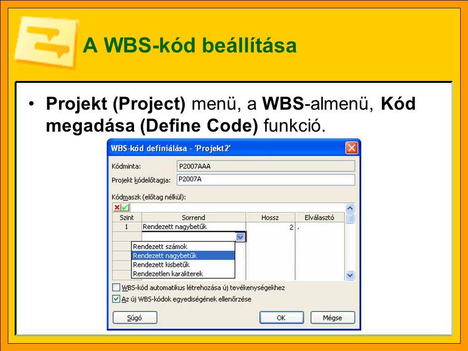 Vázlatkód A WBS-kód nem tévesztendő össze a vázlatkóddal, mely a könyvek fejezetszámozásá- hoz hasonlóan csak a struktúrát mutatja.