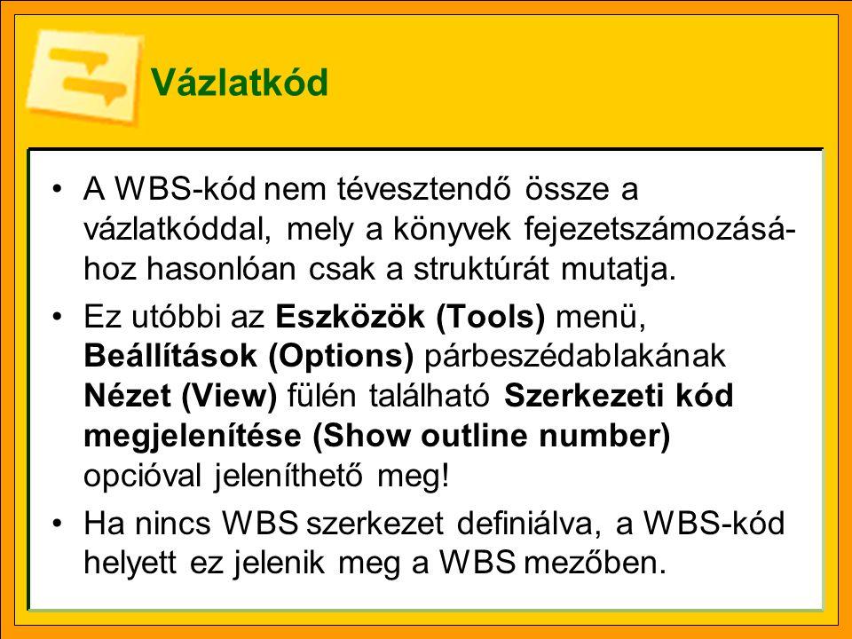 Vázlatkód A WBS-kód nem tévesztendő össze a vázlatkóddal, mely a könyvek fejezetszámozásá- hoz hasonlóan csak a struktúrát mutatja. Ez utóbbi az Eszkö