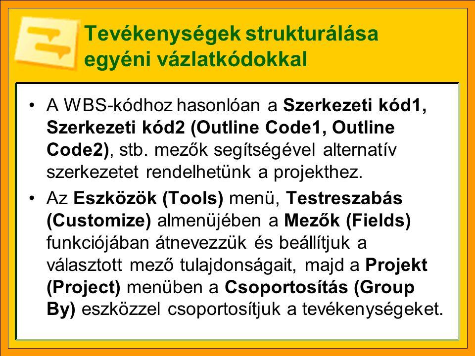 Tevékenységek strukturálása egyéni vázlatkódokkal A WBS-kódhoz hasonlóan a Szerkezeti kód1, Szerkezeti kód2 (Outline Code1, Outline Code2), stb. mezők