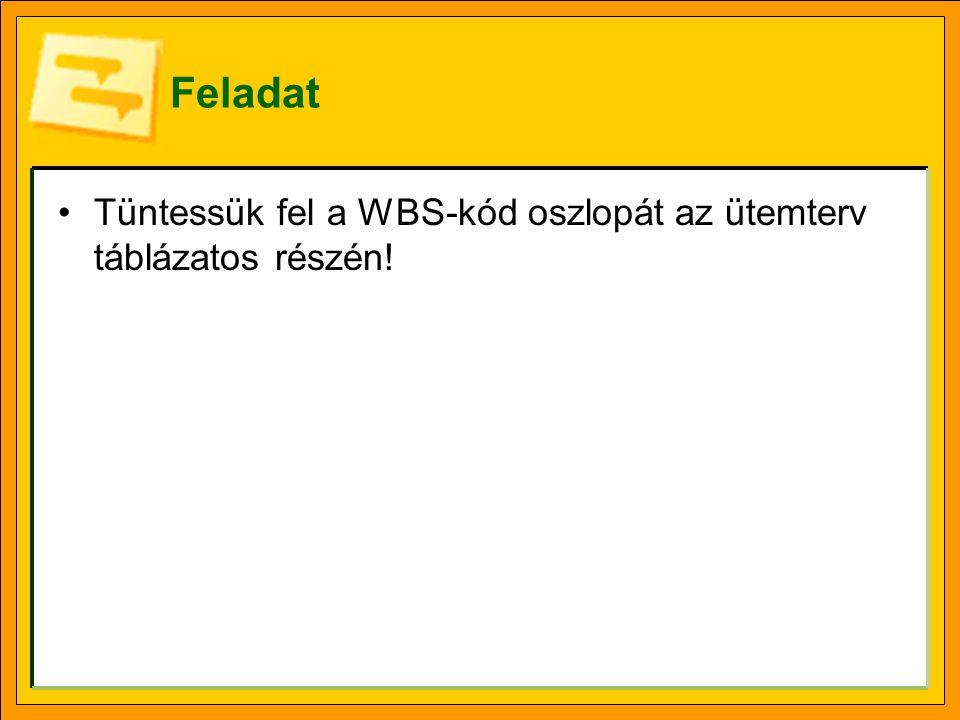 Feladat Vegyük fel a Rákóczi Ferenc utcát RF, a Kossuth Lajos utcát pedig KL WBS-kódokkal.