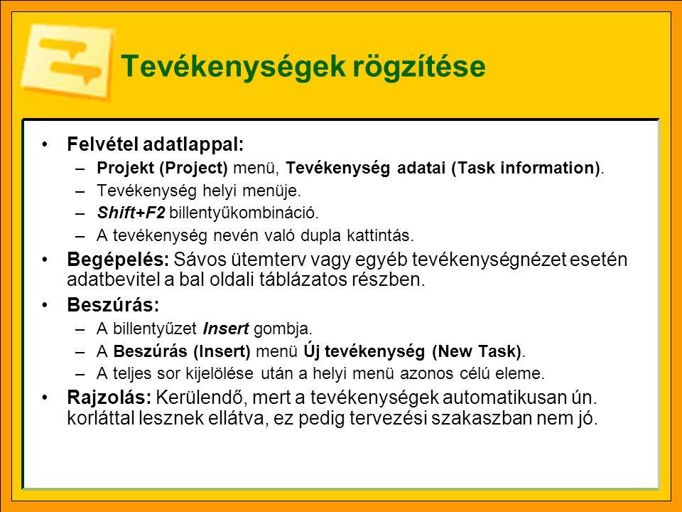 Tevékenységek rögzítése Felvétel adatlappal: –Projekt (Project) menü, Tevékenység adatai (Task information). –Tevékenység helyi menüje. –Shift+F2 bill