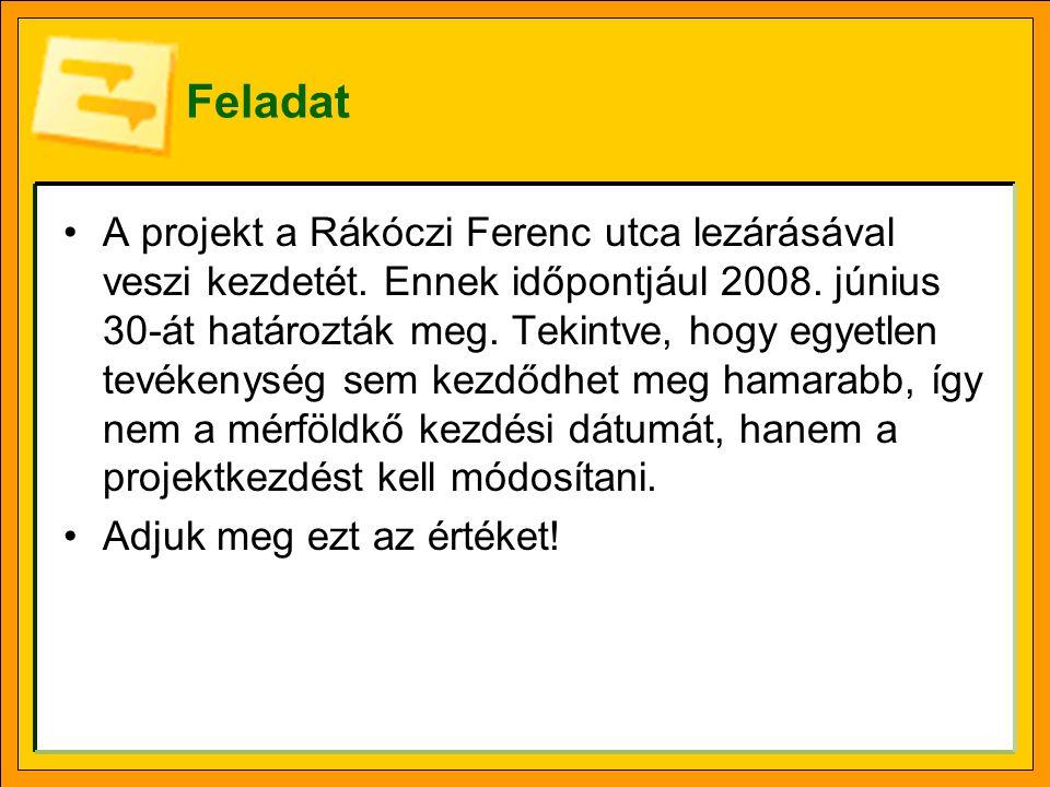 Feladat A projekt a Rákóczi Ferenc utca lezárásával veszi kezdetét. Ennek időpontjául 2008. június 30-át határozták meg. Tekintve, hogy egyetlen tevék