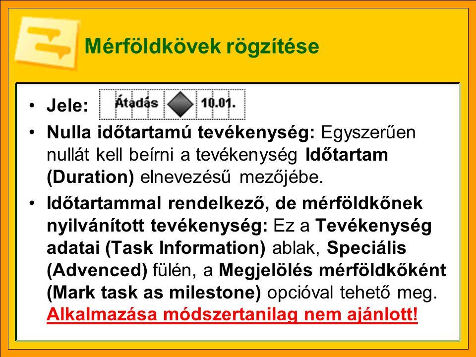 Mérföldkövek rögzítése Jele: Nulla időtartamú tevékenység: Egyszerűen nullát kell beírni a tevékenység Időtartam (Duration) elnevezésű mezőjébe. Időta