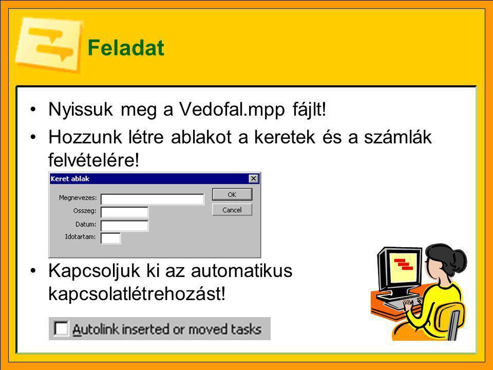 Feladat Nyissuk meg a Vedofal.mpp fájlt.Hozzunk létre ablakot a keretek és a számlák felvételére.
