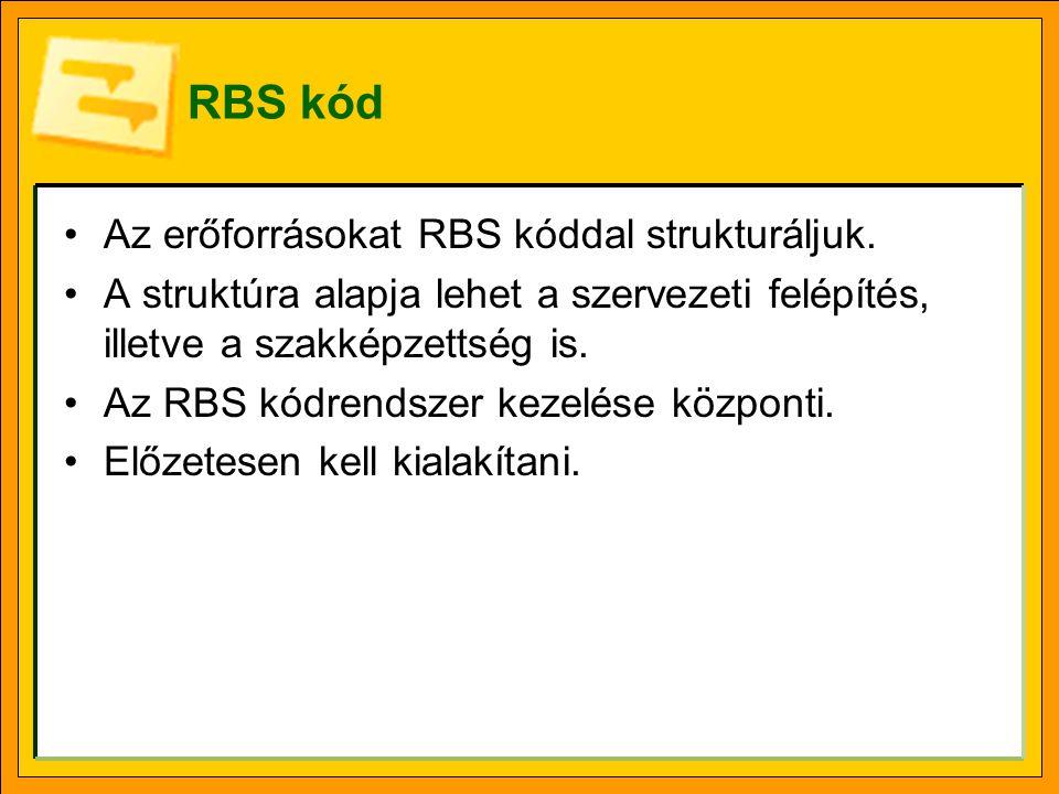 RBS kód Az erőforrásokat RBS kóddal strukturáljuk. A struktúra alapja lehet a szervezeti felépítés, illetve a szakképzettség is. Az RBS kódrendszer ke