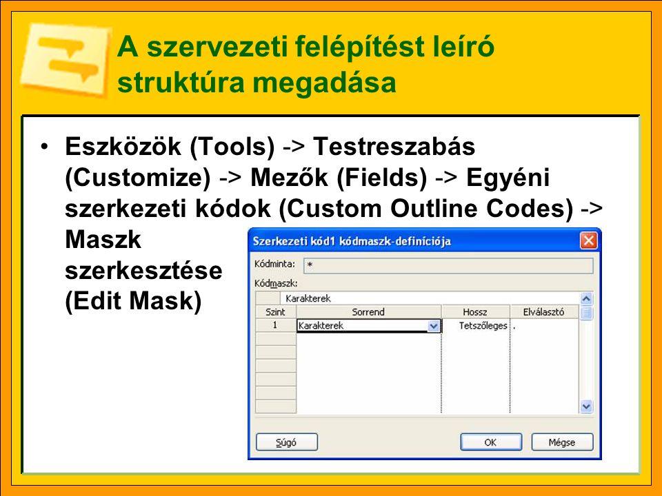 A szervezeti felépítést leíró struktúra megadása Eszközök (Tools) -> Testreszabás (Customize) -> Mezők (Fields) -> Egyéni szerkezeti kódok (Custom Out