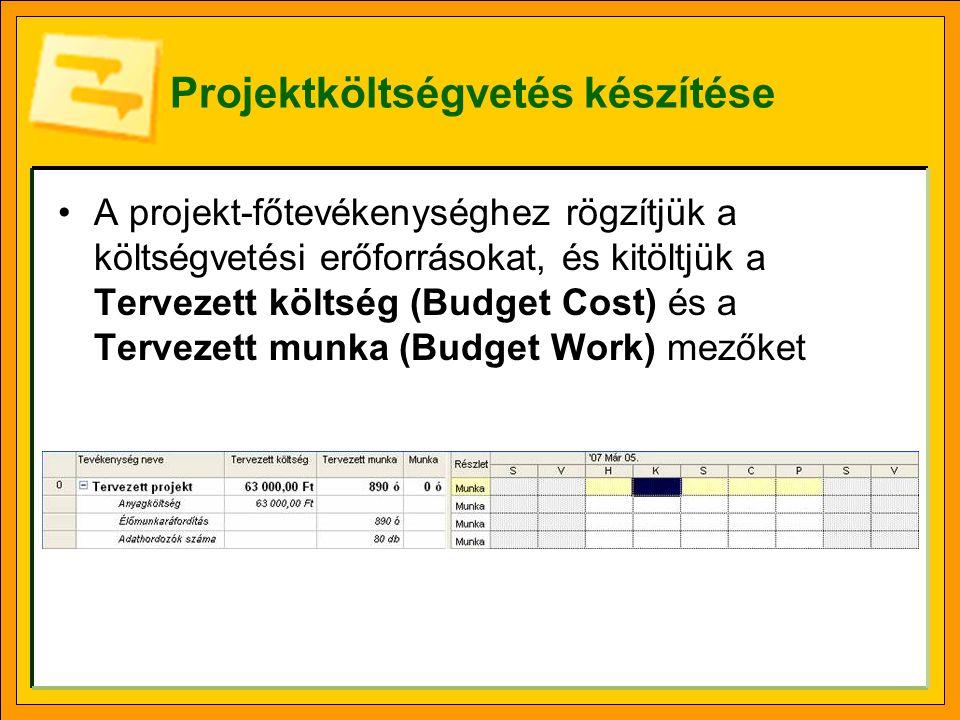 Projektköltségvetés készítése A projekt-főtevékenységhez rögzítjük a költségvetési erőforrásokat, és kitöltjük a Tervezett költség (Budget Cost) és a Tervezett munka (Budget Work) mezőket