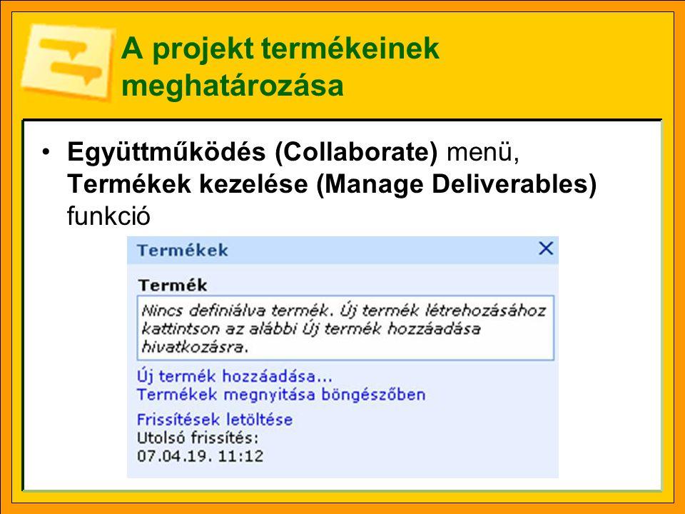 A projekt termékeinek meghatározása Együttműködés (Collaborate) menü, Termékek kezelése (Manage Deliverables) funkció