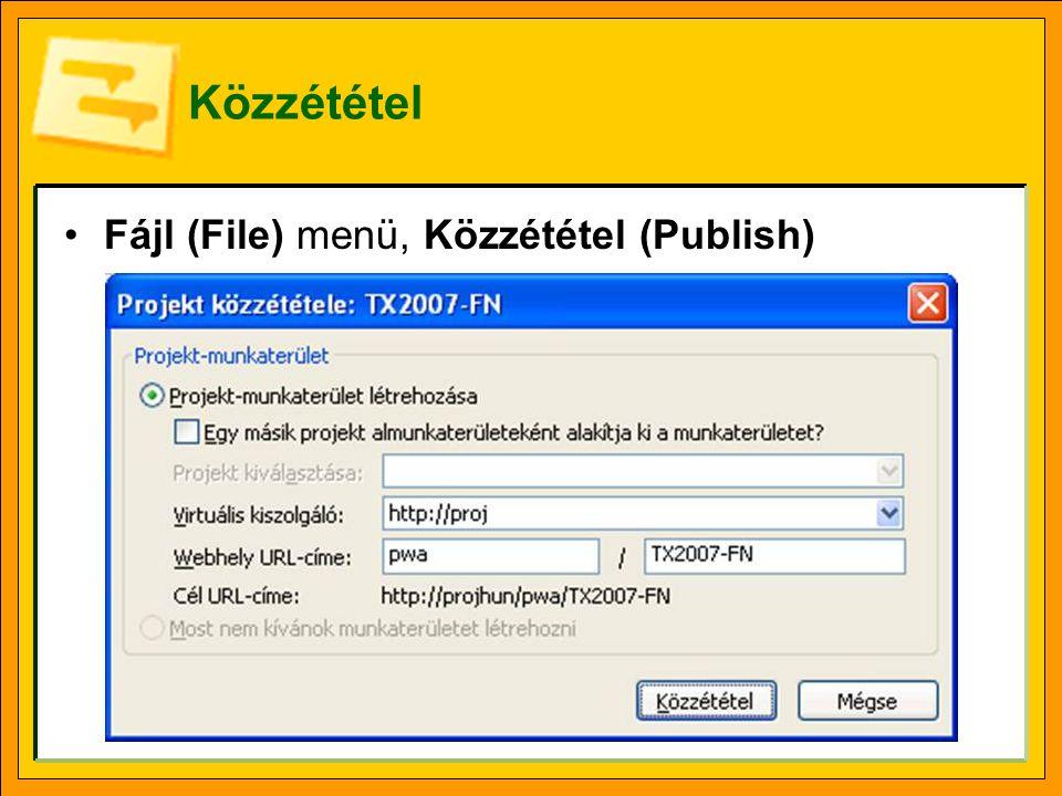 Közzététel Fájl (File) menü, Közzététel (Publish)