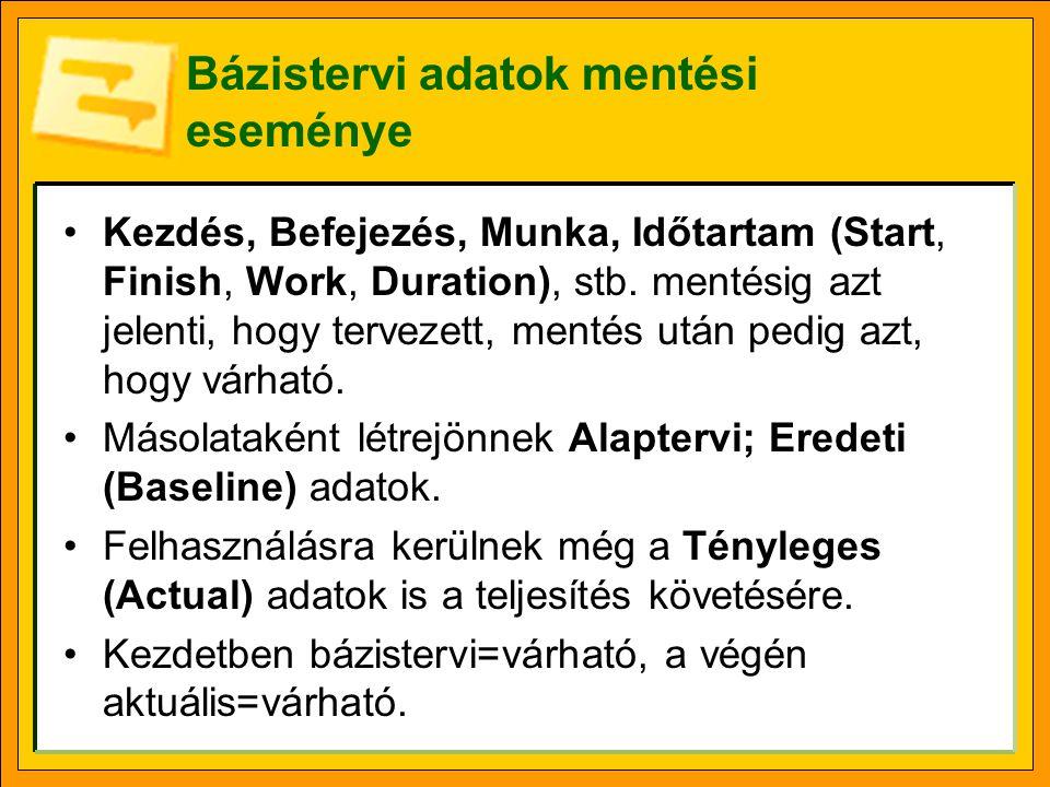Bázistervi adatok mentési eseménye Kezdés, Befejezés, Munka, Időtartam (Start, Finish, Work, Duration), stb.