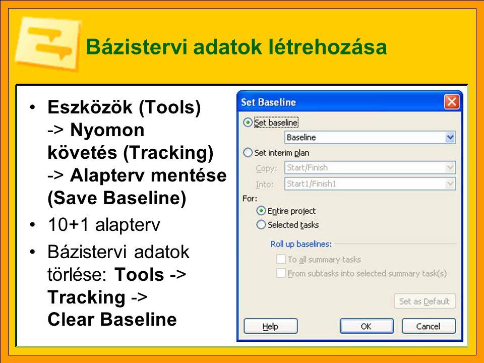 Bázistervi adatok létrehozása Eszközök (Tools) -> Nyomon követés (Tracking) -> Alapterv mentése (Save Baseline) 10+1 alapterv Bázistervi adatok törlése: Tools -> Tracking -> Clear Baseline