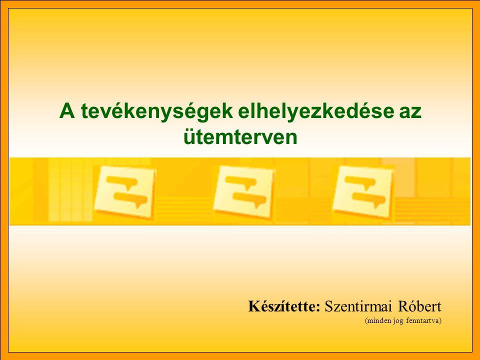 A tevékenységek elhelyezkedése az ütemterven Készítette: Szentirmai Róbert (minden jog fenntartva)