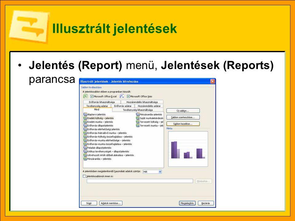 Illusztrált jelentések Jelentés (Report) menü, Jelentések (Reports) parancsa