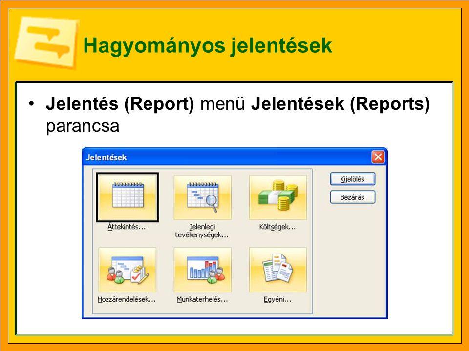 Hagyományos jelentések Jelentés (Report) menü Jelentések (Reports) parancsa