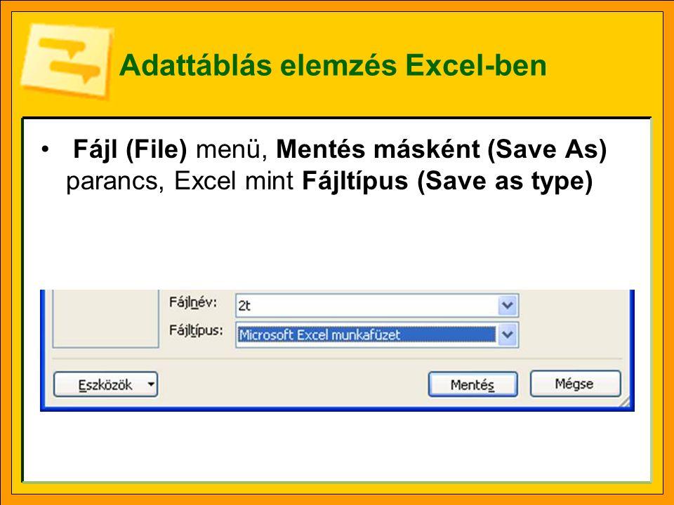 Adattáblás elemzés Excel-ben Fájl (File) menü, Mentés másként (Save As) parancs, Excel mint Fájltípus (Save as type)