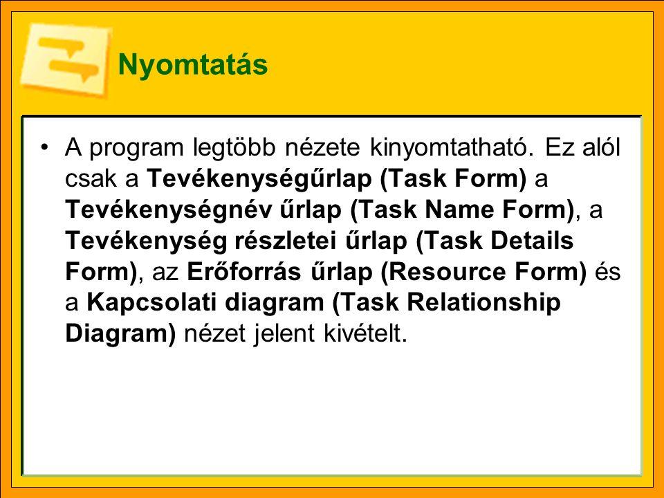 Nyomtatás A program legtöbb nézete kinyomtatható. Ez alól csak a Tevékenységűrlap (Task Form) a Tevékenységnév űrlap (Task Name Form), a Tevékenység r