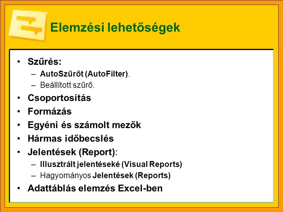 Elemzési lehetőségek Szűrés: –AutoSzűrőt (AutoFilter). –Beállított szűrő. Csoportosítás Formázás Egyéni és számolt mezők Hármas időbecslés Jelentések