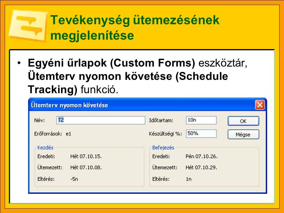 Tevékenység ütemezésének megjelenítése Egyéni űrlapok (Custom Forms) eszköztár, Ütemterv nyomon követése (Schedule Tracking) funkció.
