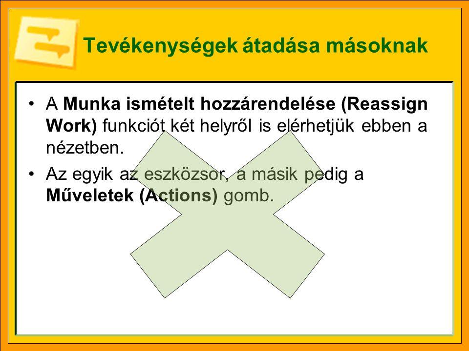 Tevékenységek átadása másoknak A Munka ismételt hozzárendelése (Reassign Work) funkciót két helyről is elérhetjük ebben a nézetben.