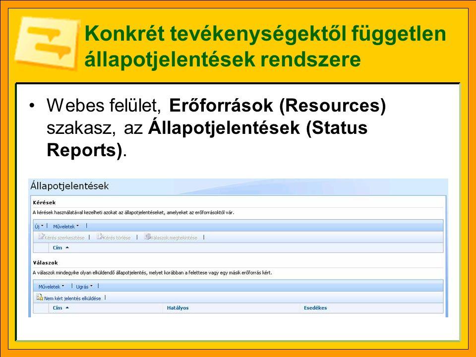 Konkrét tevékenységektől független állapotjelentések rendszere Webes felület, Erőforrások (Resources) szakasz, az Állapotjelentések (Status Reports).