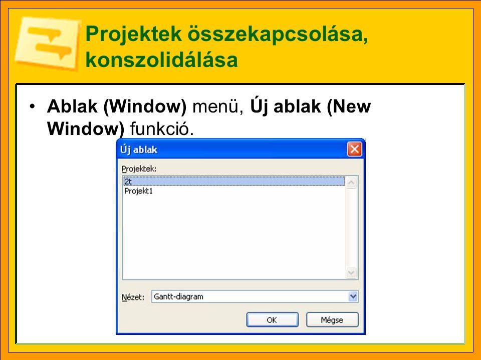 Projektek összekapcsolása, konszolidálása Ablak (Window) menü, Új ablak (New Window) funkció.