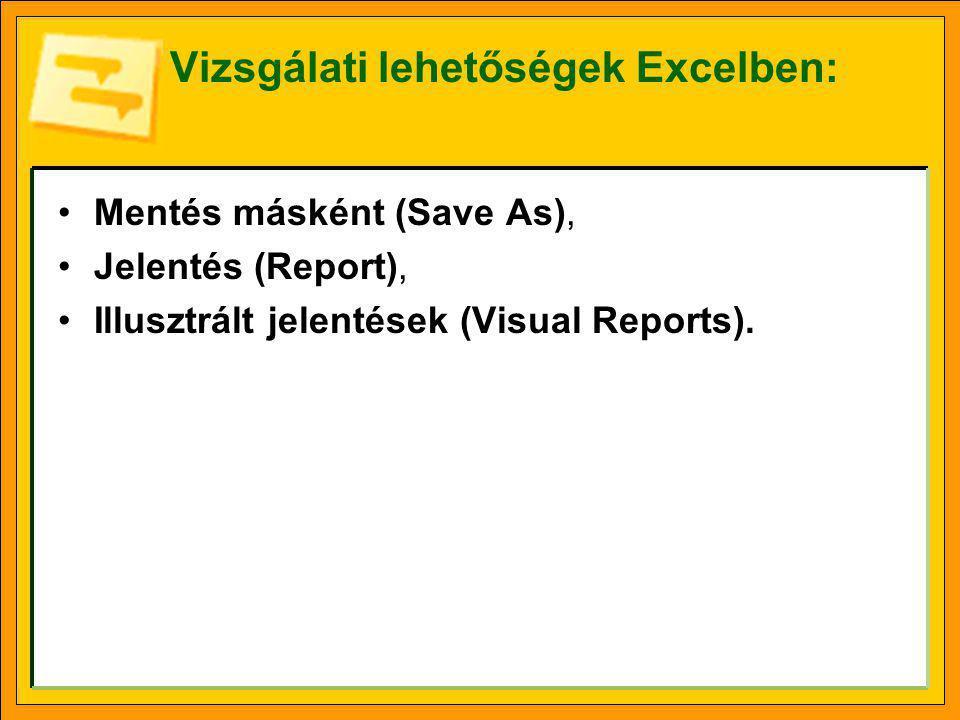 Vizsgálati lehetőségek Excelben: Mentés másként (Save As), Jelentés (Report), Illusztrált jelentések (Visual Reports).