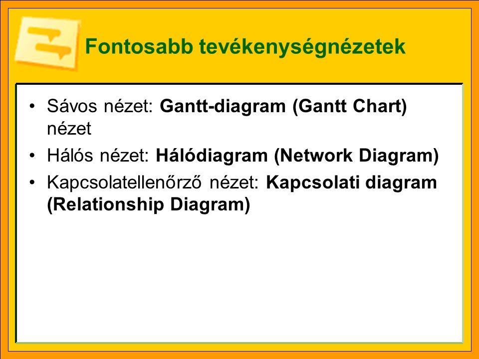 Fontosabb tevékenységnézetek Sávos nézet: Gantt-diagram (Gantt Chart) nézet Hálós nézet: Hálódiagram (Network Diagram) Kapcsolatellenőrző nézet: Kapcsolati diagram (Relationship Diagram)