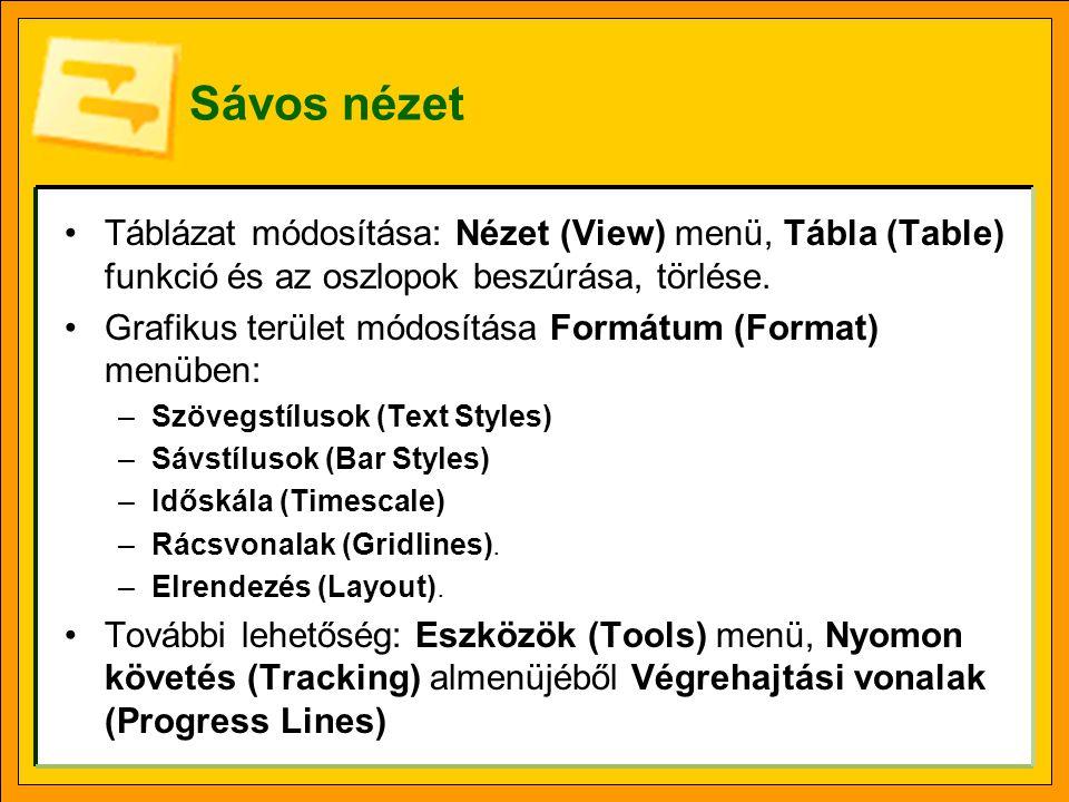 Sávos nézet Táblázat módosítása: Nézet (View) menü, Tábla (Table) funkció és az oszlopok beszúrása, törlése.