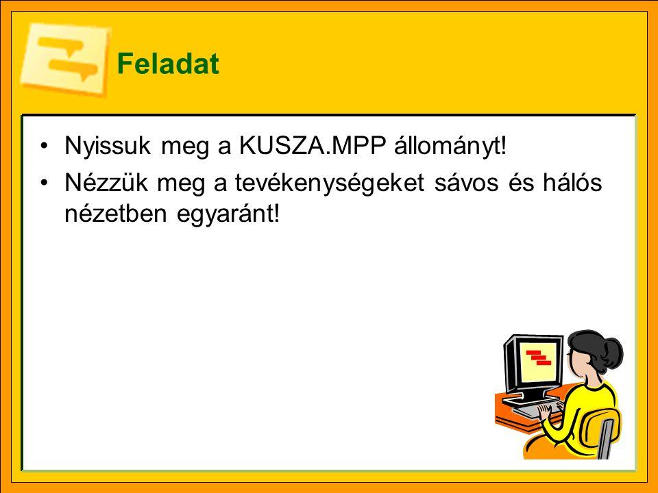 Feladat Nyissuk meg a KUSZA.MPP állományt.