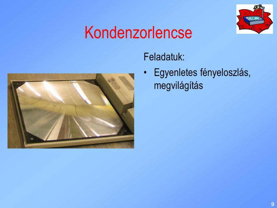 9 Kondenzorlencse Feladatuk: Egyenletes fényeloszlás, megvilágítás