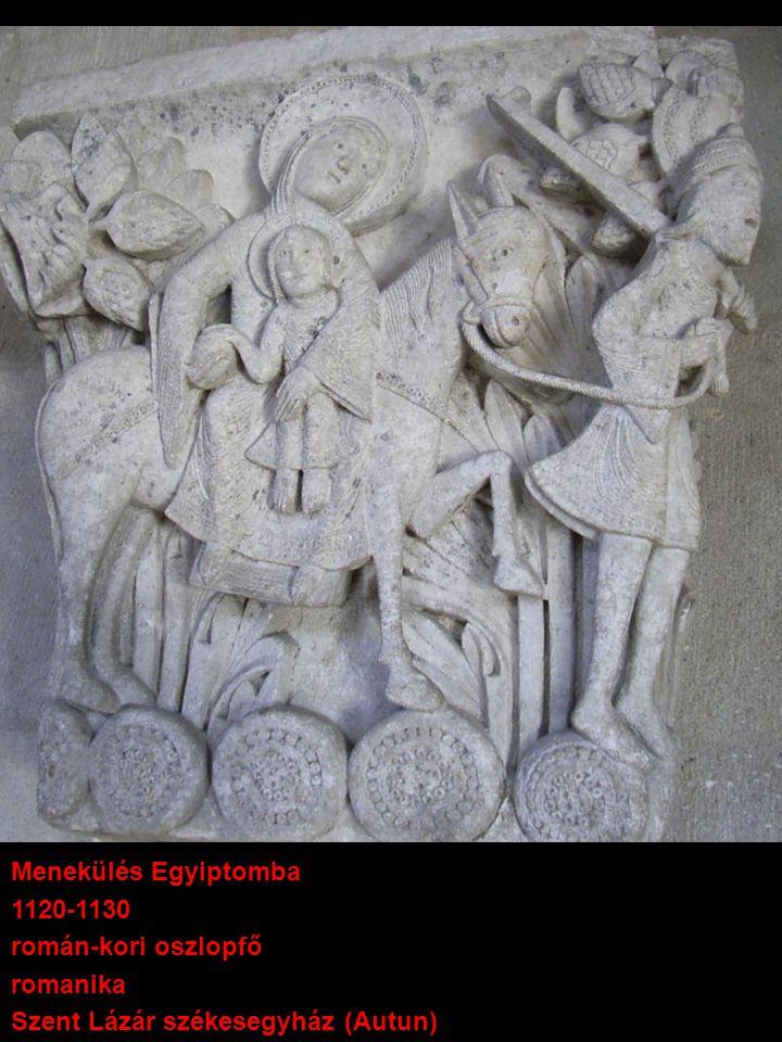 Menekülés Egyiptomba 1120-1130 román-kori oszlopfő romanika Szent Lázár székesegyház (Autun)