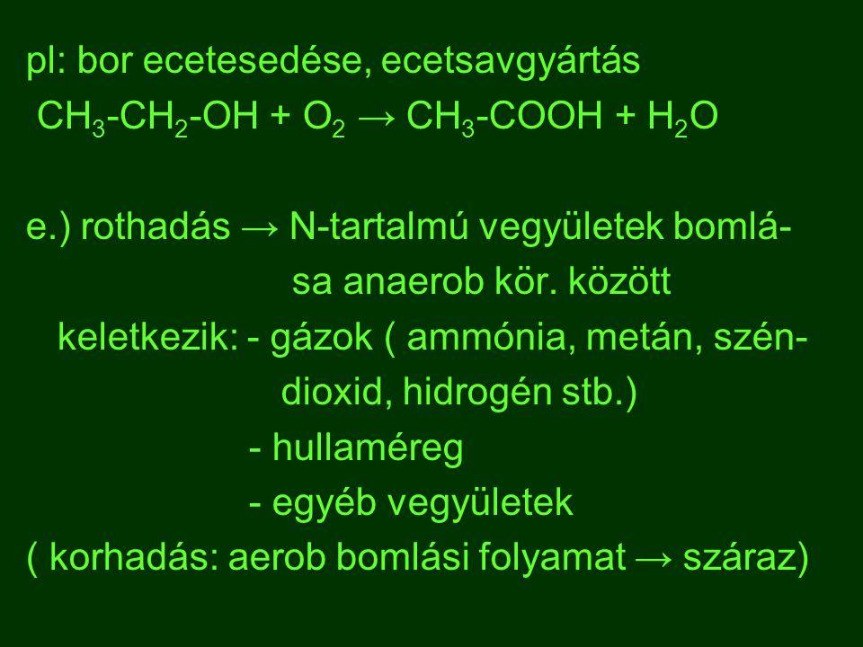 pl: bor ecetesedése, ecetsavgyártás CH 3 -CH 2 -OH + O 2 → CH 3 -COOH + H 2 O e.) rothadás → N-tartalmú vegyületek bomlá- sa anaerob kör. között kelet