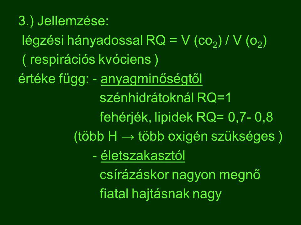 3.) Jellemzése: légzési hányadossal RQ = V (co 2 ) / V (o 2 ) ( respirációs kvóciens ) értéke függ: - anyagminőségtől szénhidrátoknál RQ=1 fehérjék, l